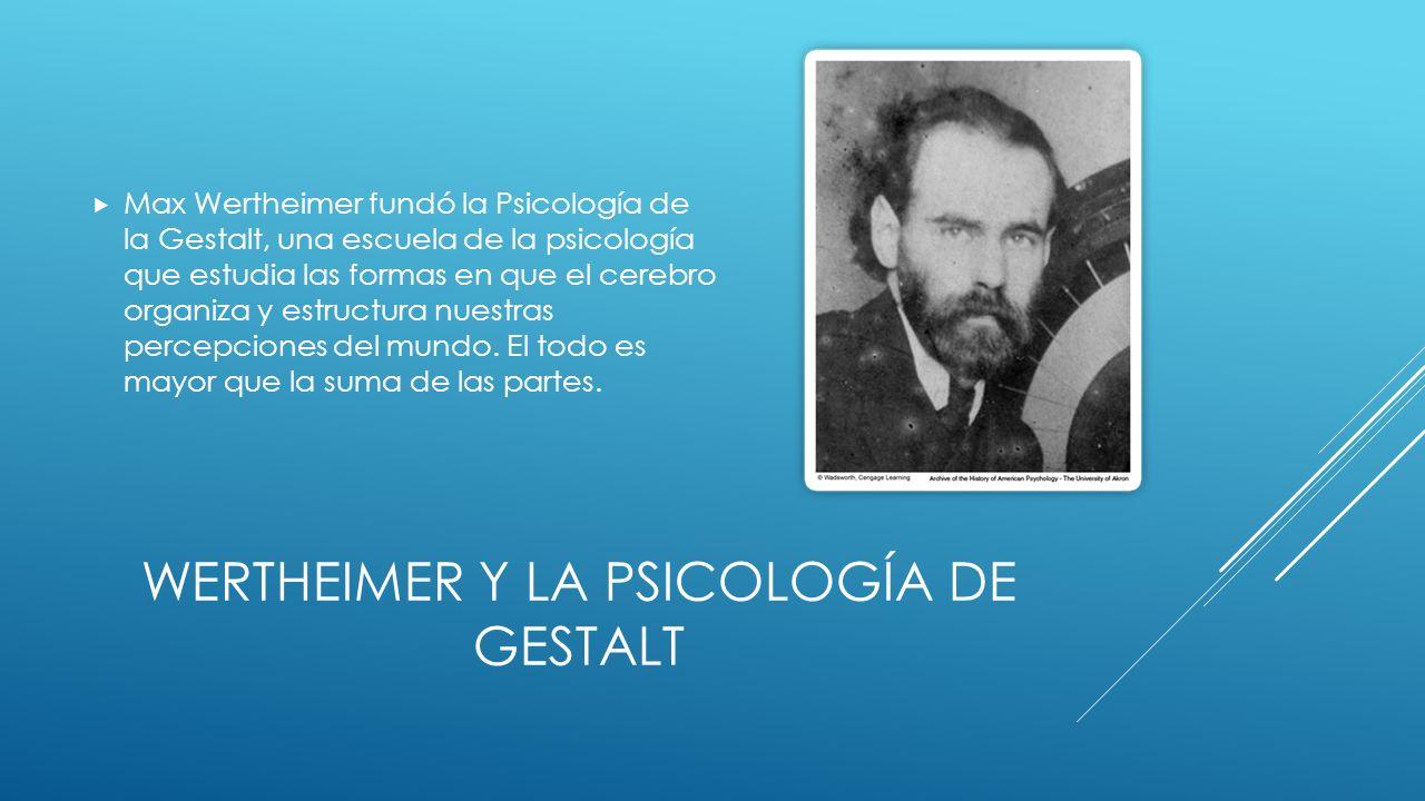 WERTHEIMER Y LA PSICOLOGÍA DE GESTALT Max Wertheimer fundó la Psicología de la Gestalt, una escuela de la psicología que estudia las formas en que el cerebro organiza y estructura nuestras percepciones del mundo.