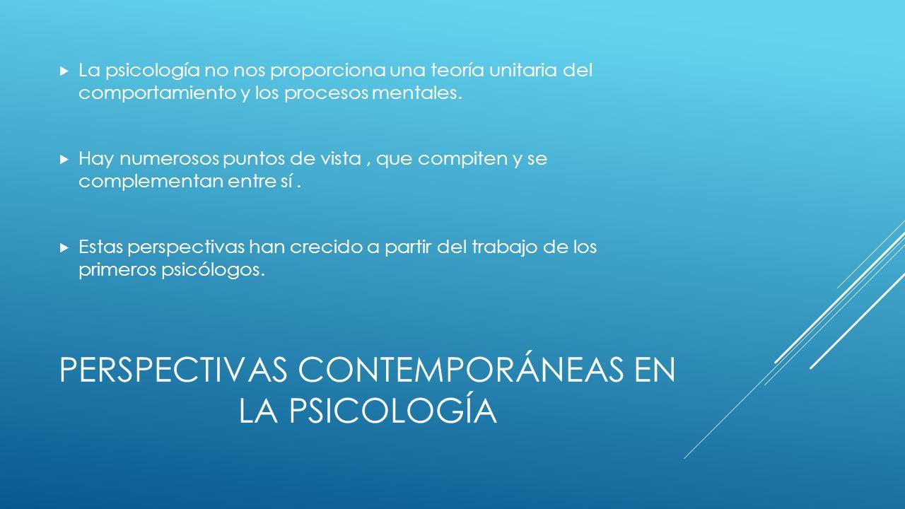PERSPECTIVAS CONTEMPORÁNEAS EN LA PSICOLOGÍA La psicología no nos proporciona una teoría unitaria del comportamiento y los procesos mentales.