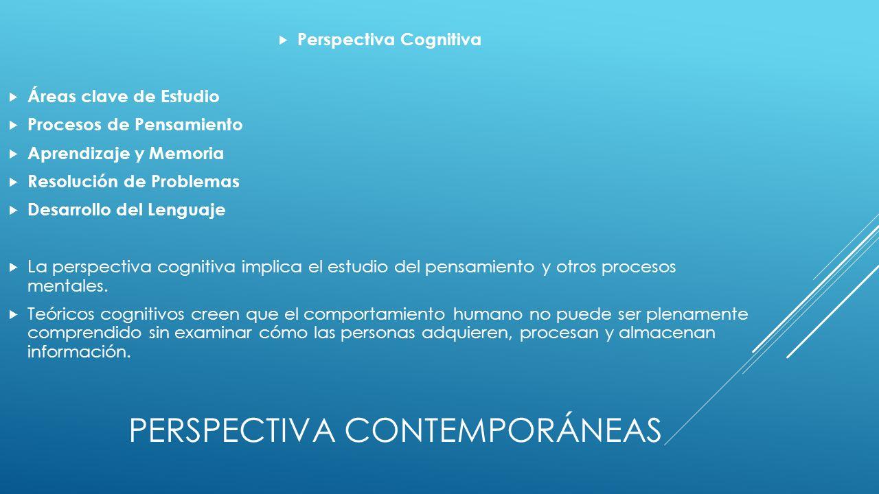 PERSPECTIVA CONTEMPORÁNEAS Perspectiva Cognitiva Áreas clave de Estudio Procesos de Pensamiento Aprendizaje y Memoria Resolución de Problemas Desarrollo del Lenguaje La perspectiva cognitiva implica el estudio del pensamiento y otros procesos mentales.