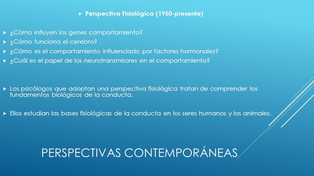 PERSPECTIVAS CONTEMPORÁNEAS Perspectiva Fisiológica (1950-presente) ¿Cómo influyen los genes comportamiento.