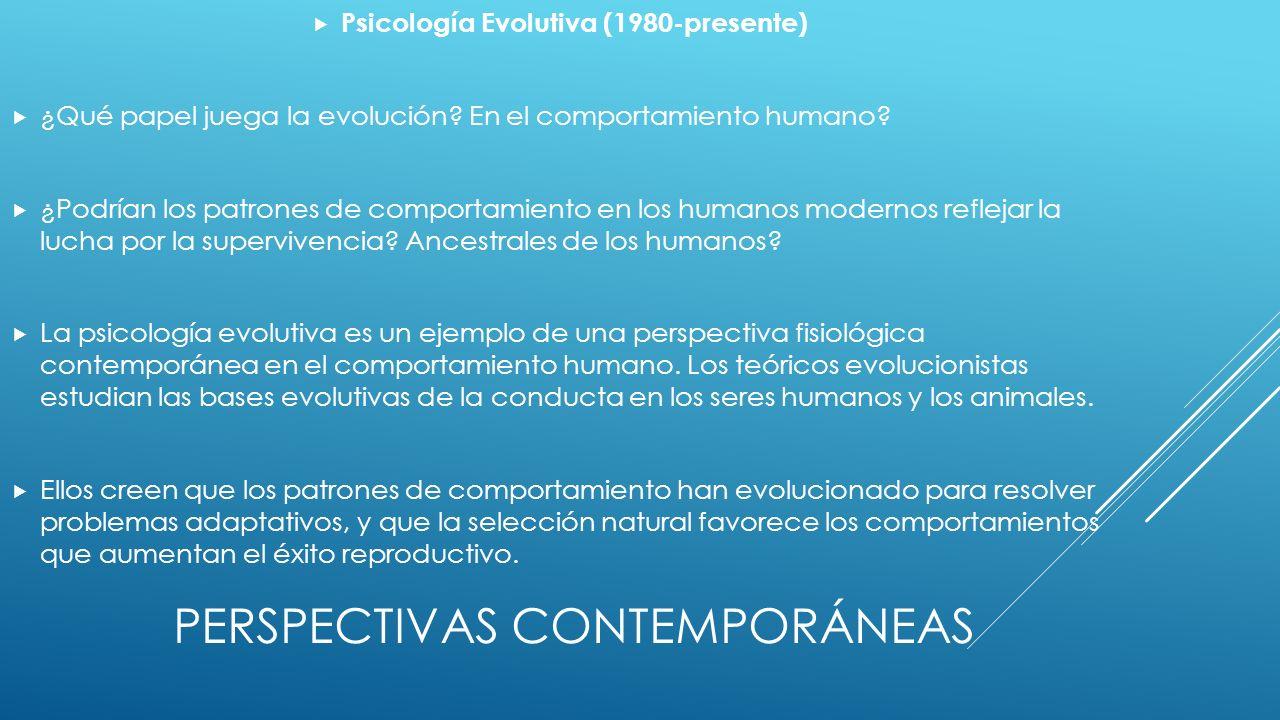 PERSPECTIVAS CONTEMPORÁNEAS Psicología Evolutiva (1980-presente) ¿Qué papel juega la evolución.