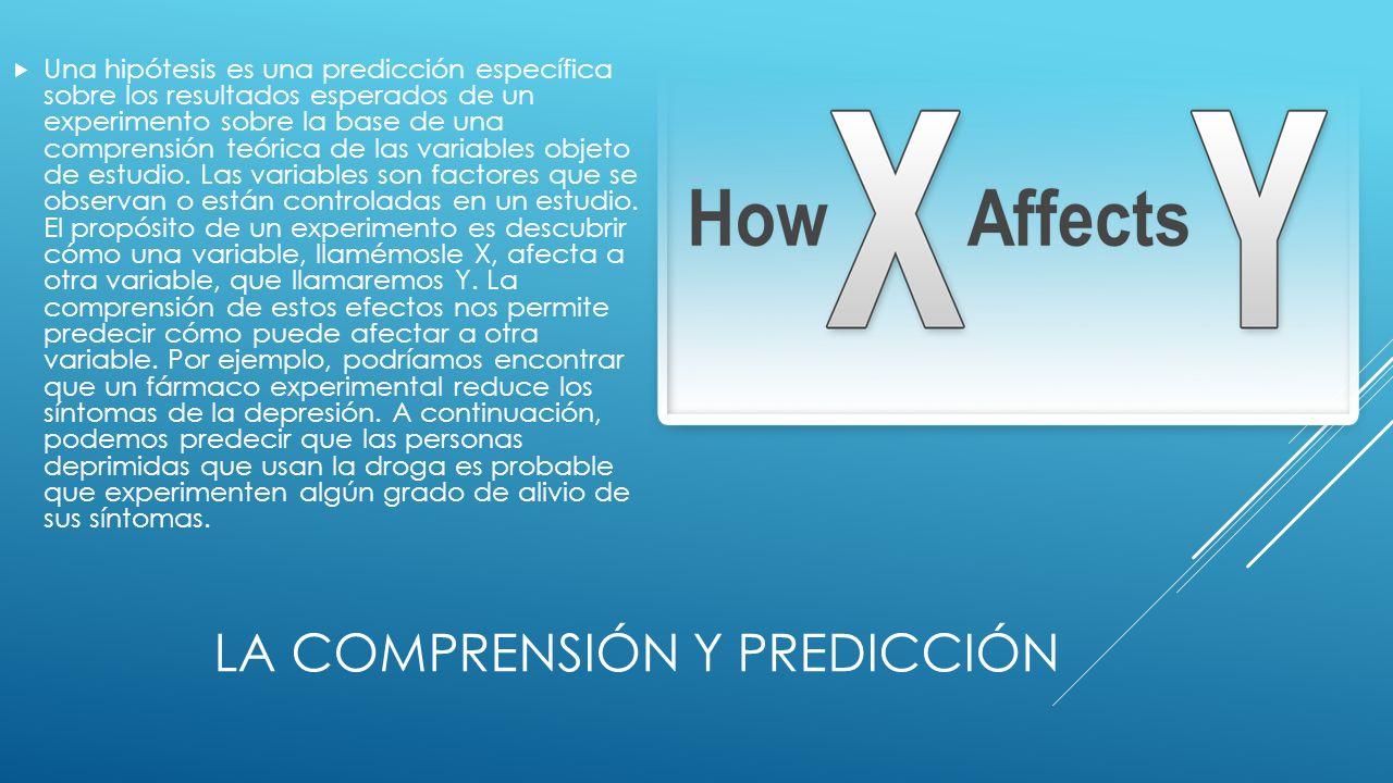 LA COMPRENSIÓN Y PREDICCIÓN Una hipótesis es una predicción específica sobre los resultados esperados de un experimento sobre la base de una comprensión teórica de las variables objeto de estudio.