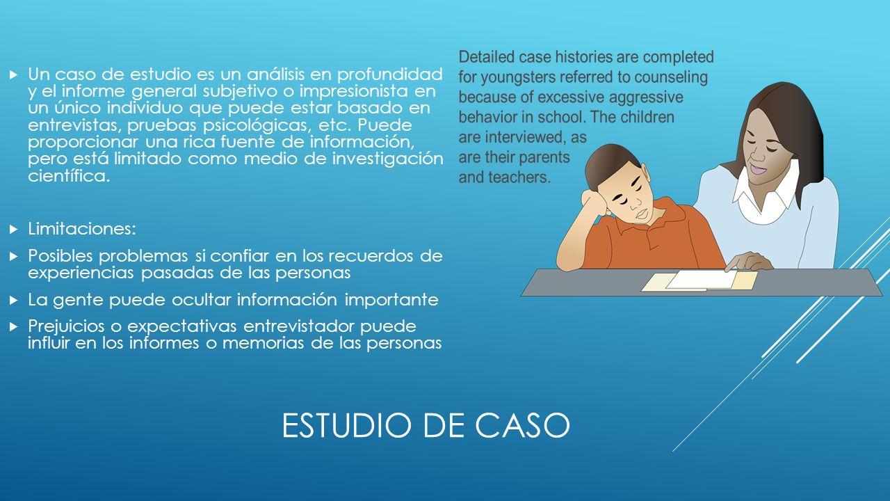 ESTUDIO DE CASO Un caso de estudio es un análisis en profundidad y el informe general subjetivo o impresionista en un único individuo que puede estar basado en entrevistas, pruebas psicológicas, etc.