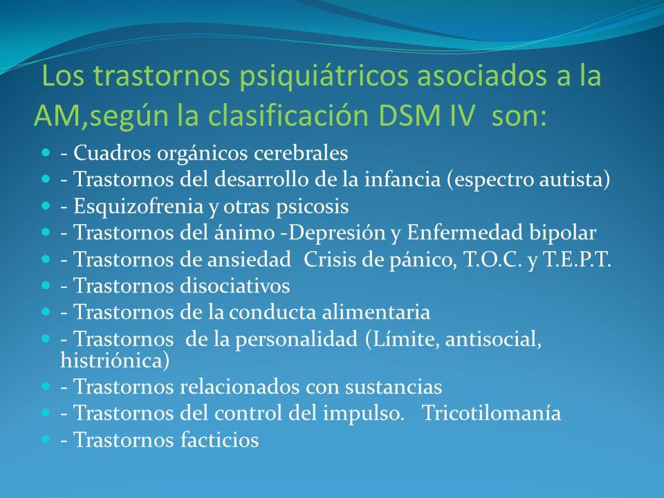 Los trastornos psiquiátricos asociados a la AM,según la clasificación DSM IV son: - Cuadros orgánicos cerebrales - Trastornos del desarrollo de la inf