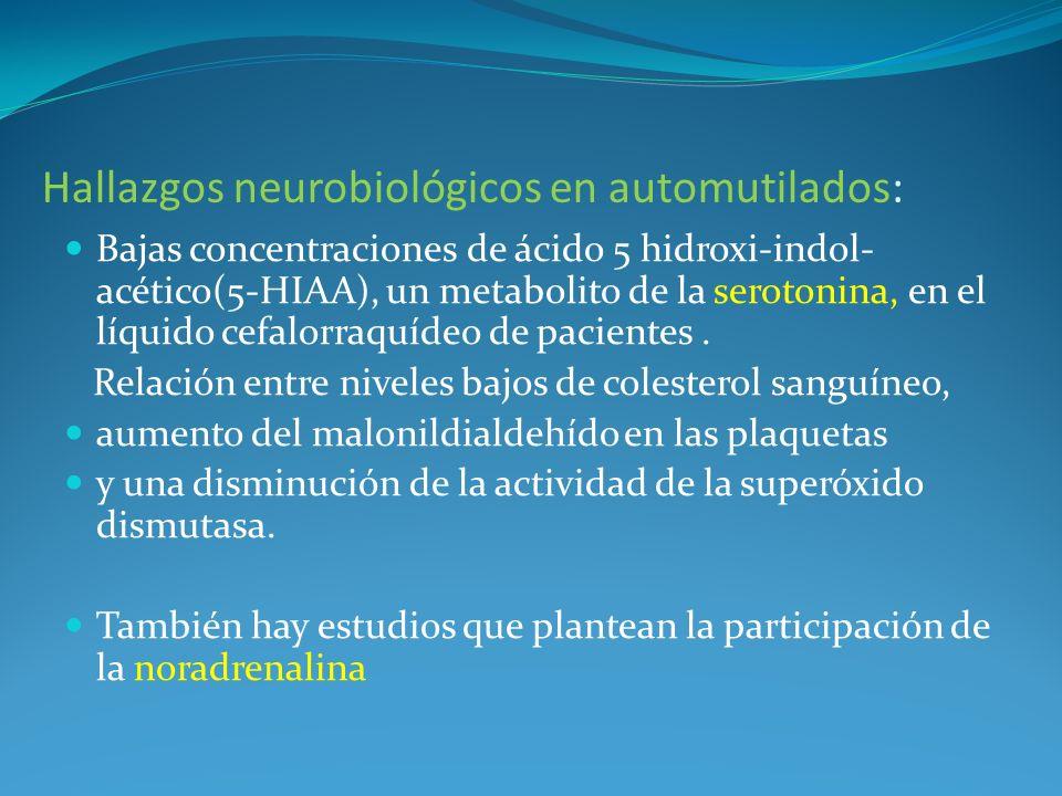 Hallazgos neurobiológicos en automutilados: Bajas concentraciones de ácido 5 hidroxi-indol- acético(5-HIAA), un metabolito de la serotonina, en el líq