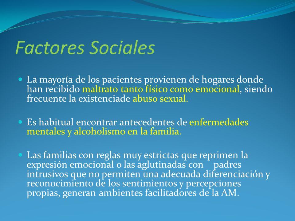 Factores Sociales La mayoría de los pacientes provienen de hogares donde han recibido maltrato tanto físico como emocional, siendo frecuente la existe