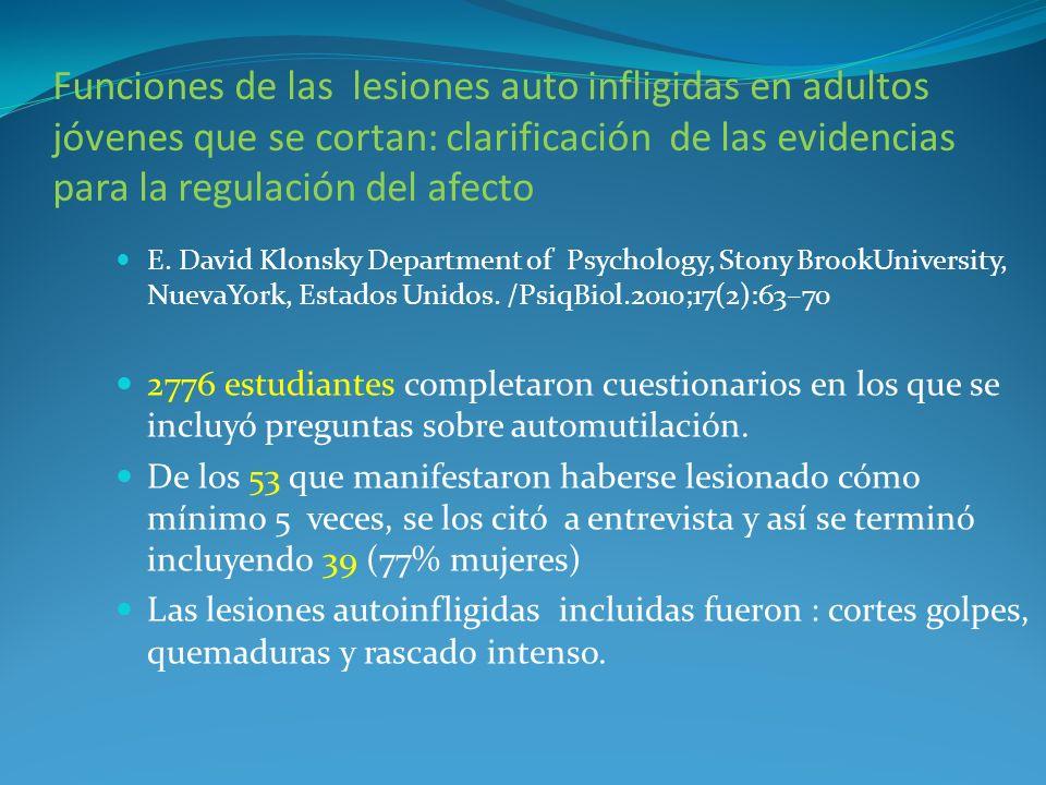 Funciones de las lesiones auto infligidas en adultos jóvenes que se cortan: clarificación de las evidencias para la regulación del afecto E. David Klo
