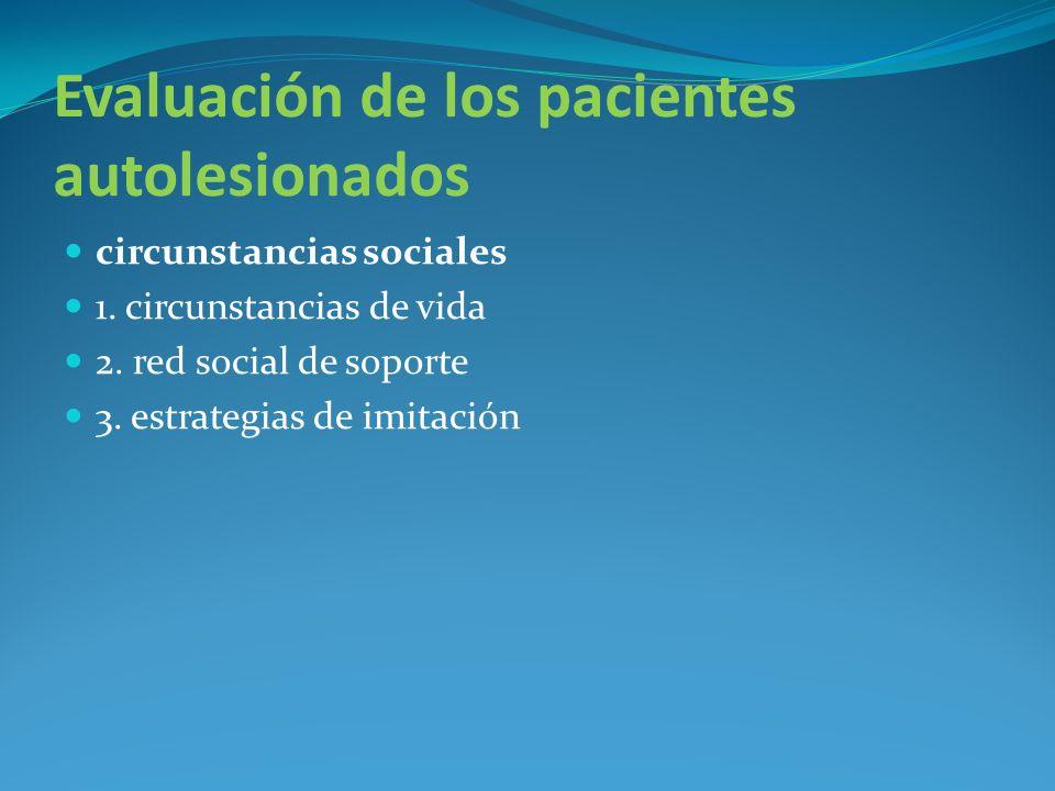 Evaluación de los pacientes autolesionados circunstancias sociales 1. circunstancias de vida 2. red social de soporte 3. estrategias de imitación
