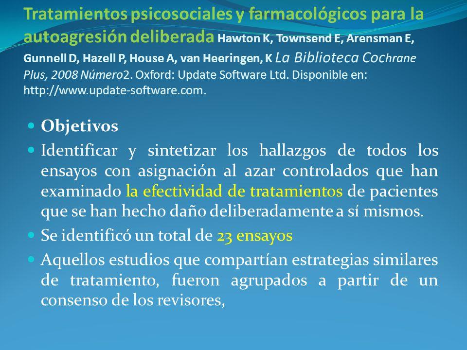 Tratamientos psicosociales y farmacológicos para la autoagresión deliberada Hawton K, Townsend E, Arensman E, Gunnell D, Hazell P, House A, van Heerin
