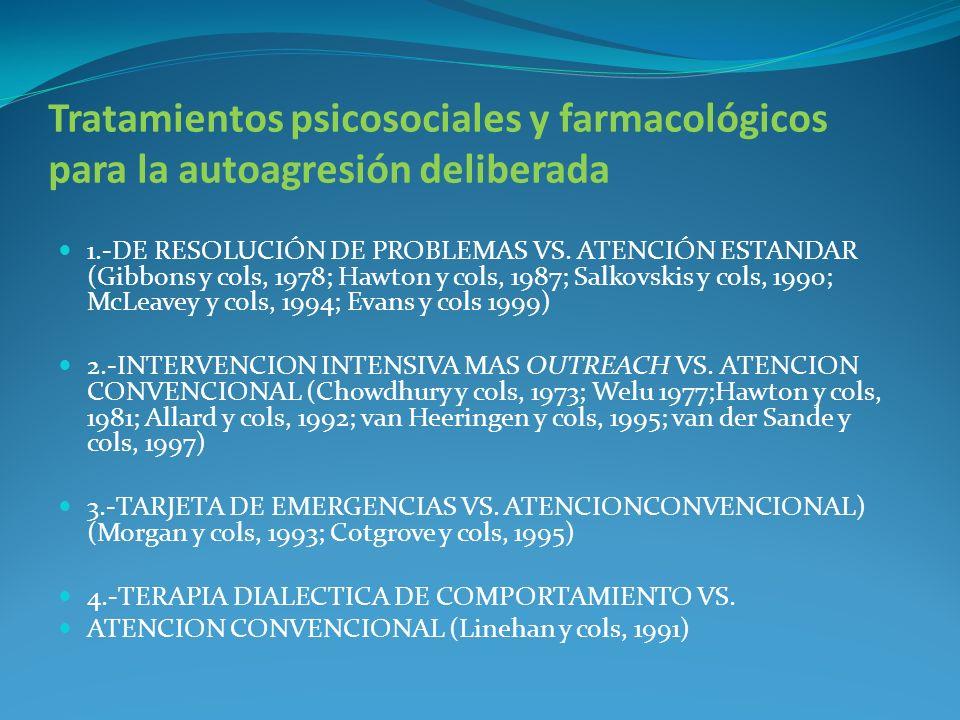 Tratamientos psicosociales y farmacológicos para la autoagresión deliberada 1.-DE RESOLUCIÓN DE PROBLEMAS VS. ATENCIÓN ESTANDAR (Gibbons y cols, 1978;