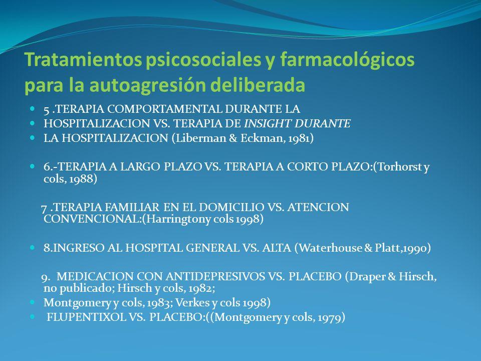 Tratamientos psicosociales y farmacológicos para la autoagresión deliberada 5.TERAPIA COMPORTAMENTAL DURANTE LA HOSPITALIZACION VS. TERAPIA DE INSIGHT