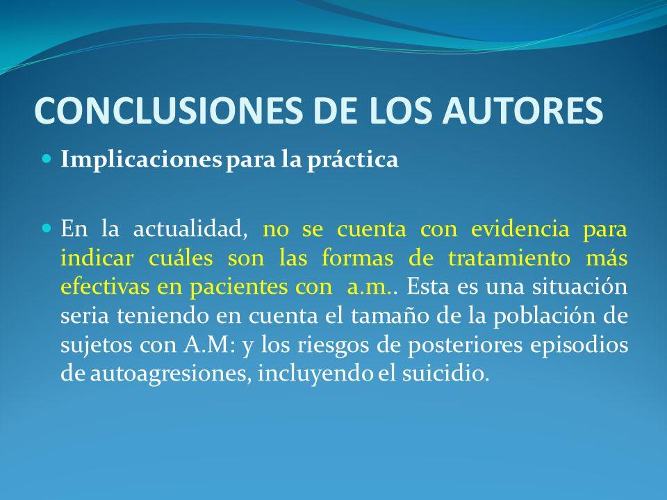CONCLUSIONES DE LOS AUTORES Implicaciones para la práctica En la actualidad, no se cuenta con evidencia para indicar cuáles son las formas de tratamie