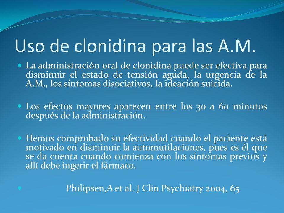Uso de clonidina para las A.M. La administración oral de clonidina puede ser efectiva para disminuir el estado de tensión aguda, la urgencia de la A.M