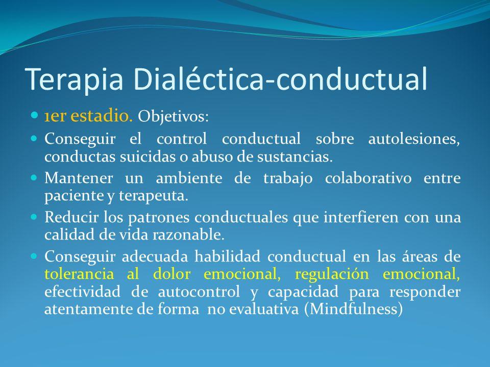 Terapia Dialéctica-conductual 1er estadio. Objetivos: Conseguir el control conductual sobre autolesiones, conductas suicidas o abuso de sustancias. Ma