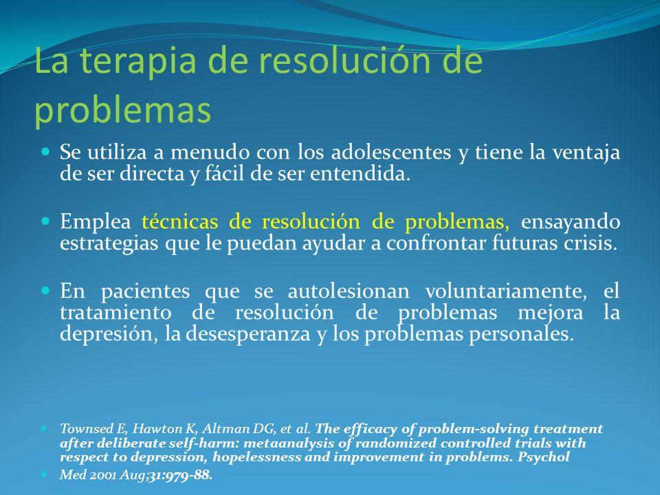 La terapia de resolución de problemas Se utiliza a menudo con los adolescentes y tiene la ventaja de ser directa y fácil de ser entendida. Emplea técn