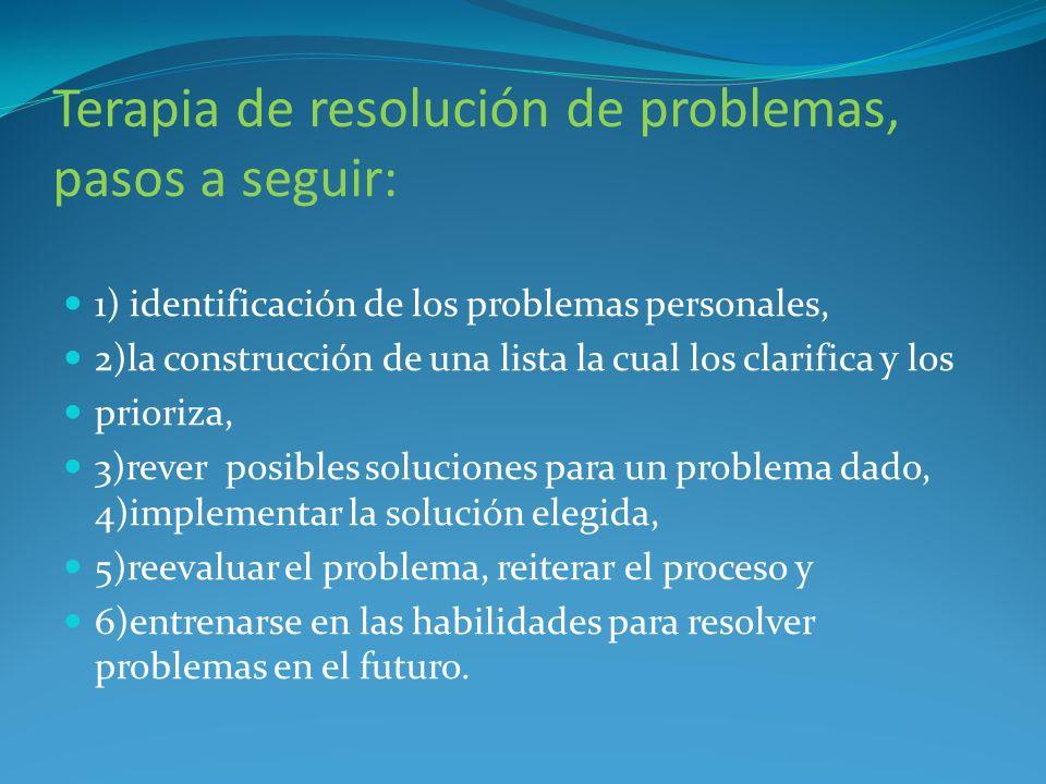 Terapia de resolución de problemas, pasos a seguir: 1) identificación de los problemas personales, 2)la construcción de una lista la cual los clarific