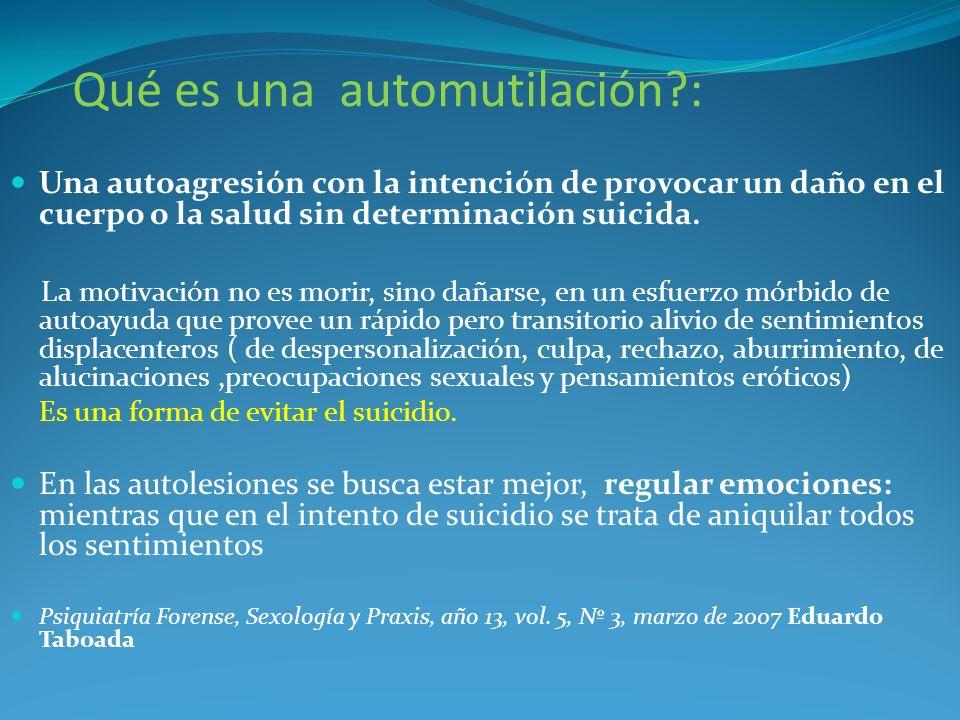 Qué es una automutilación?: Una autoagresión con la intención de provocar un daño en el cuerpo o la salud sin determinación suicida. La motivación no