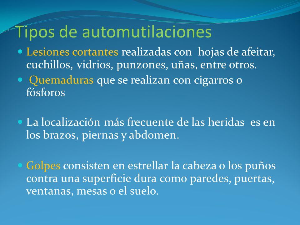 Tipos de automutilaciones Rascado intenso, Sacarse costras; interferir con curación de herida Arañarse, pincharse.