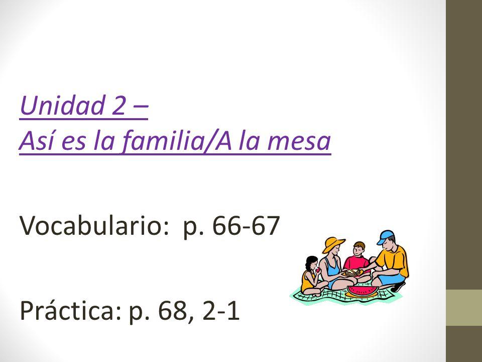 Unidad 2 – Así es la familia/A la mesa Vocabulario: p. 66-67 Práctica: p. 68, 2-1