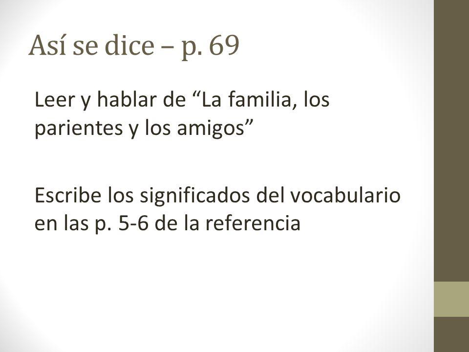 Así se dice – p. 69 Leer y hablar de La familia, los parientes y los amigos Escribe los significados del vocabulario en las p. 5-6 de la referencia