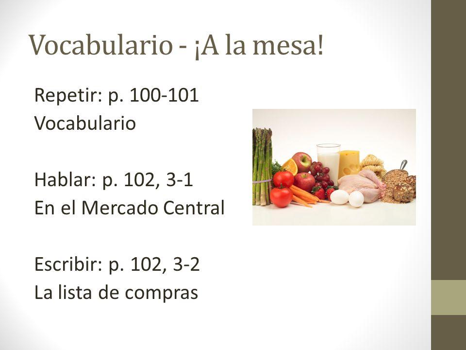 Vocabulario - ¡A la mesa! Repetir: p. 100-101 Vocabulario Hablar: p. 102, 3-1 En el Mercado Central Escribir: p. 102, 3-2 La lista de compras