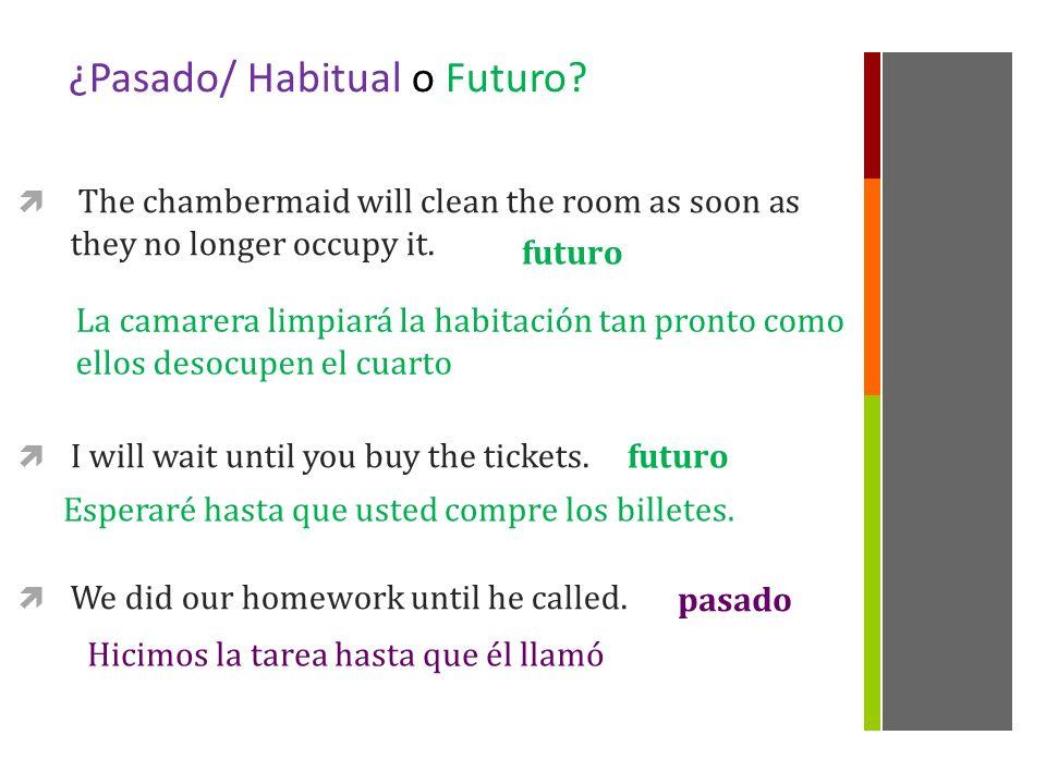 ¿Pasado/ Habitual o Futuro.1. I went to France as soon as I got my visa.