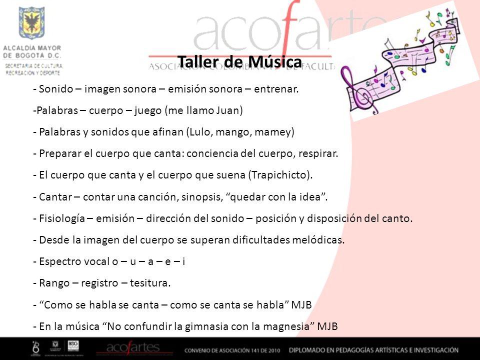 Taller de Música - Sonido – imagen sonora – emisión sonora – entrenar. -Palabras – cuerpo – juego (me llamo Juan) - Palabras y sonidos que afinan (Lul