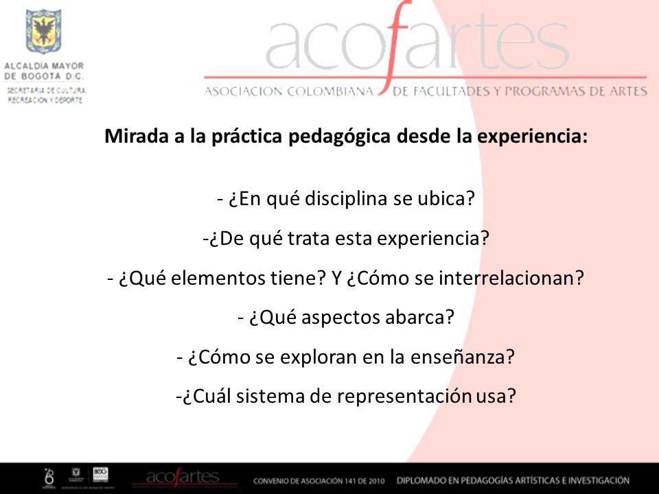 Mirada a la práctica pedagógica desde la experiencia: - ¿En qué disciplina se ubica? -¿De qué trata esta experiencia? - ¿Qué elementos tiene? Y ¿Cómo
