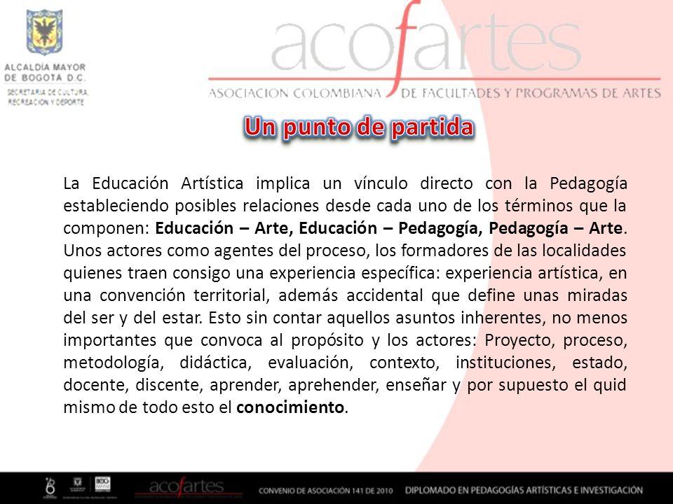 La Educación Artística implica un vínculo directo con la Pedagogía estableciendo posibles relaciones desde cada uno de los términos que la componen: E