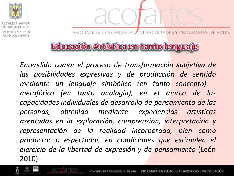 Entendido como: el proceso de transformación subjetiva de las posibilidades expresivas y de producción de sentido mediante un lenguaje simbólico (en t