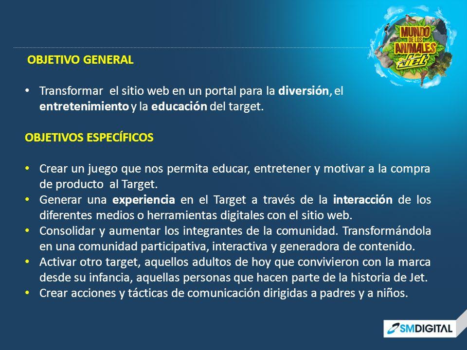 OBJETIVO GENERAL Transformar el sitio web en un portal para la diversión, el entretenimiento y la educación del target. OBJETIVOS ESPECÍFICOS Crear un