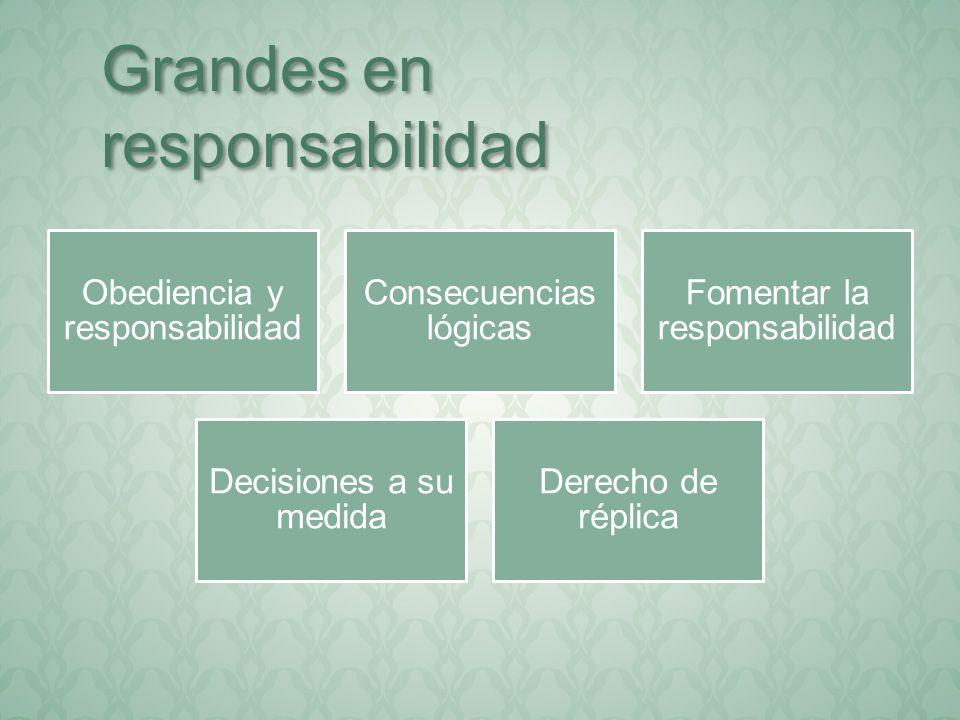 Obediencia y responsabilidad Consecuencias lógicas Fomentar la responsabilidad Decisiones a su medida Derecho de réplica Grandes en responsabilidad