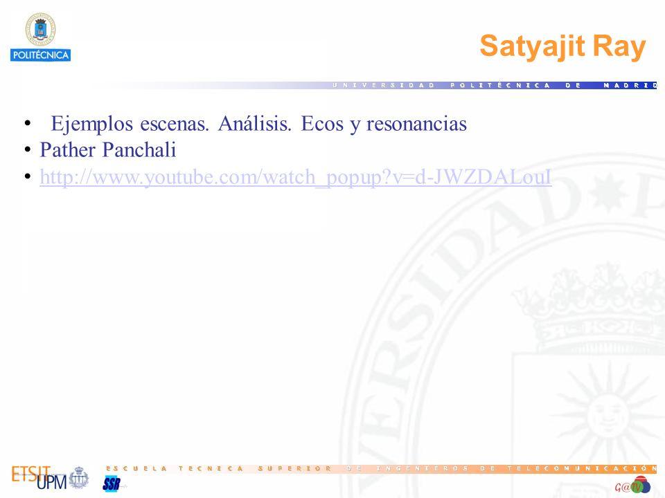 Satyajit Ray Ejemplos escenas. Análisis. Ecos y resonancias Pather Panchali http://www.youtube.com/watch_popup?v=d-JWZDALouI