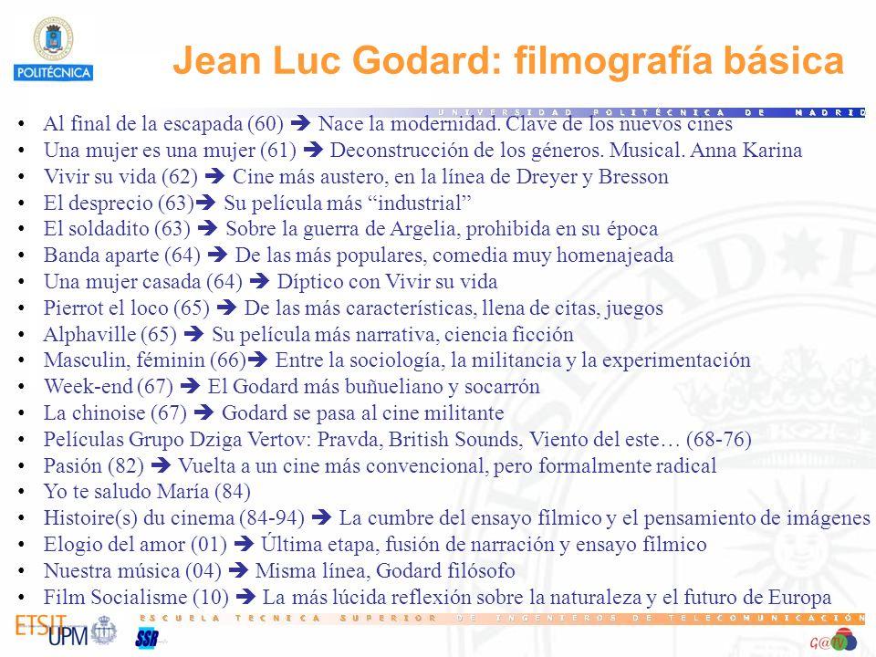 Jean Luc Godard: filmografía básica Al final de la escapada (60) Nace la modernidad. Clave de los nuevos cines Una mujer es una mujer (61) Deconstrucc