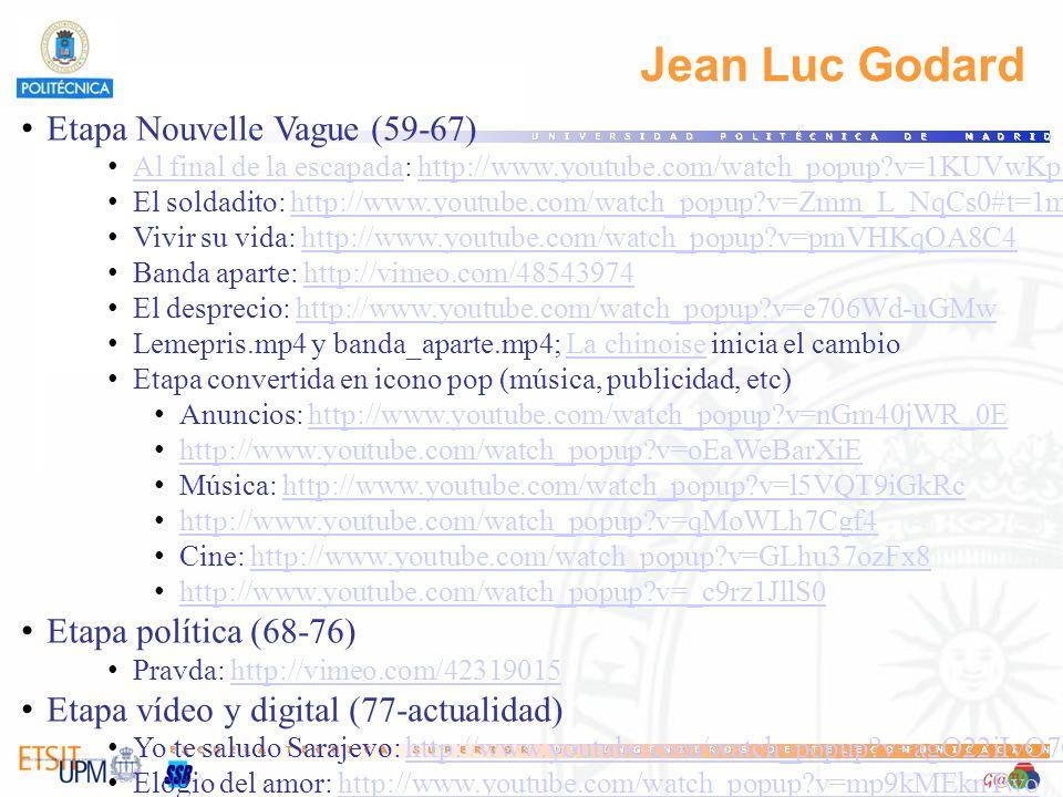 Jean Luc Godard Etapa Nouvelle Vague (59-67) Al final de la escapada: http://www.youtube.com/watch_popup?v=1KUVwKp6MDI Al final de la escapadahttp://w