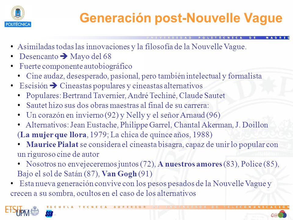 Generación post-Nouvelle Vague Asimiladas todas las innovaciones y la filosofía de la Nouvelle Vague. Desencanto Mayo del 68 Fuerte componente autobio
