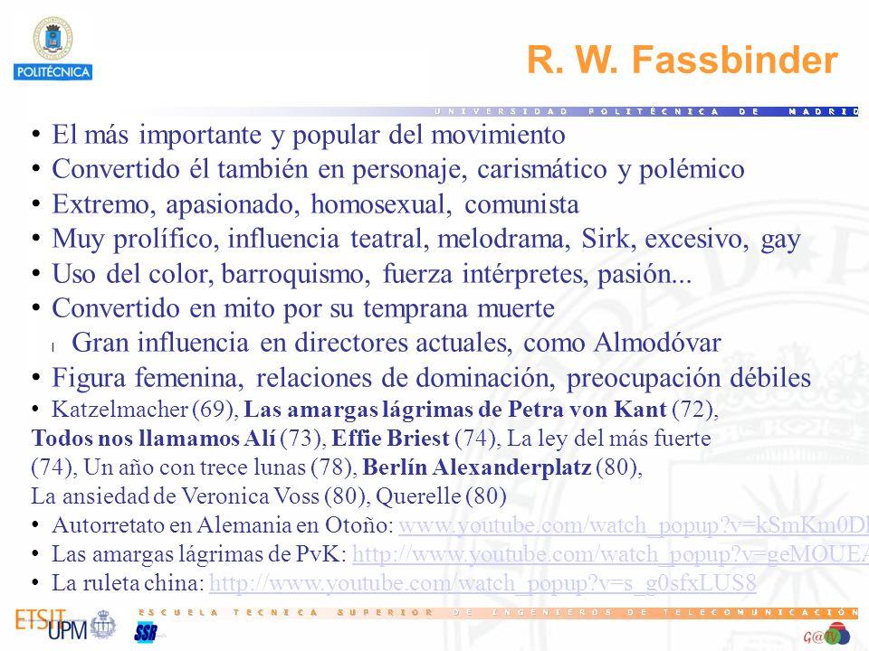 R. W. Fassbinder El más importante y popular del movimiento Convertido él también en personaje, carismático y polémico Extremo, apasionado, homosexual