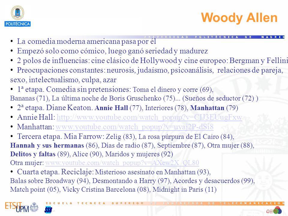 Woody Allen La comedia moderna americana pasa por él Empezó solo como cómico, luego ganó seriedad y madurez 2 polos de influencias: cine clásico de Ho