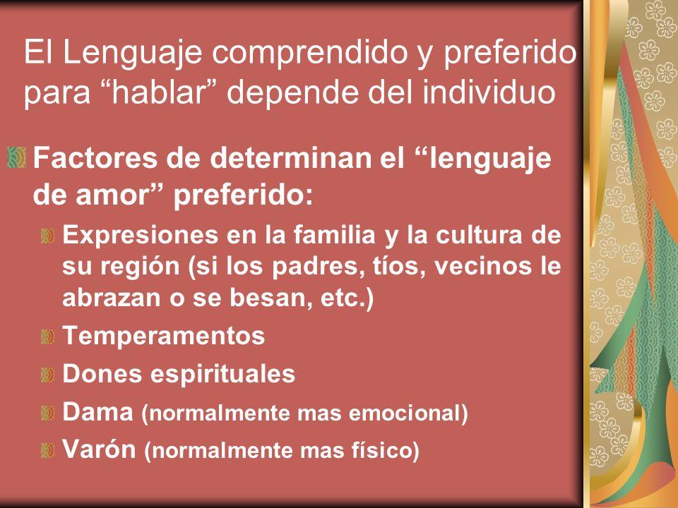 El Lenguaje comprendido y preferido para hablar depende del individuo Factores de determinan el lenguaje de amor preferido: Expresiones en la familia