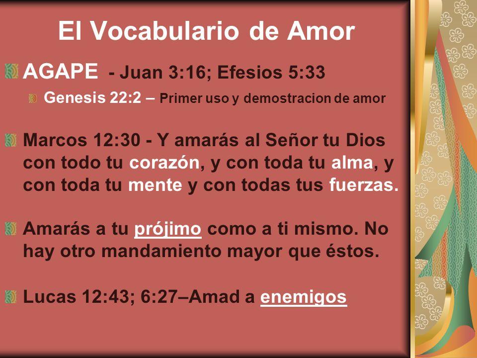 El Vocabulario de Amor AGAPE - Juan 3:16; Efesios 5:33 Genesis 22:2 – Primer uso y demostracion de amor Marcos 12:30 - Y amarás al Señor tu Dios con t