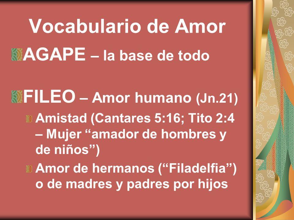 Vocabulario de Amor AGAPE – la base de todo FILEO – Amor humano (Jn.21) Amistad (Cantares 5:16; Tito 2:4 – Mujer amador de hombres y de niños) Amor de