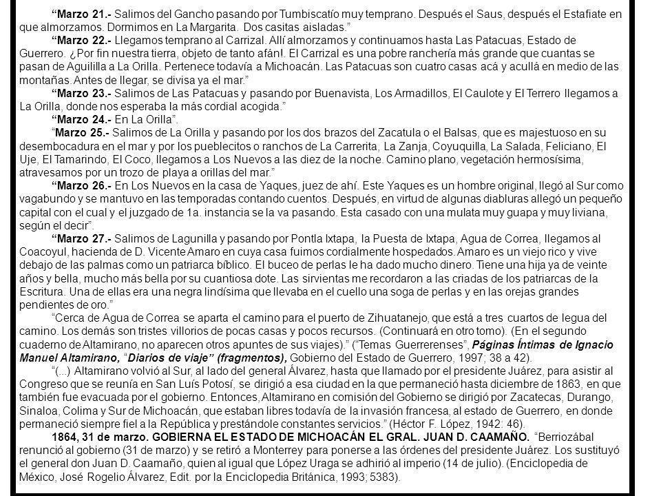 1863 a 1864, VIAJE DE DON IGNACIO MANUEL ALTAMIRANO DESDE COLIMA, HASTA ZIHUATANEJO, GRO.