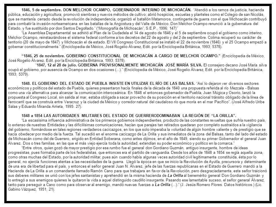 1846, 5 de septiembre.DON MELCHOR OCAMPO, GOBERNADOR INTERINO DE MICHOACÁN.