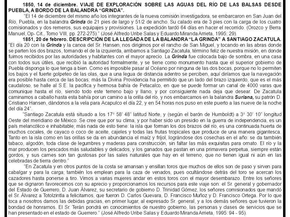 1883, 31 de octubre, AGUSTÍN TARDY ENTREGA EL INFORME DE EXPLORACIÓN Y NAVEGACIÓN EN EL RÍO MEZCALA O BALSAS A BORDO DEL YATE GENERAL ARCE.