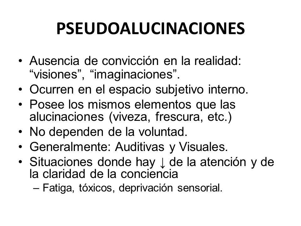 PSEUDOALUCINACIONES Ausencia de convicción en la realidad: visiones, imaginaciones. Ocurren en el espacio subjetivo interno. Posee los mismos elemento