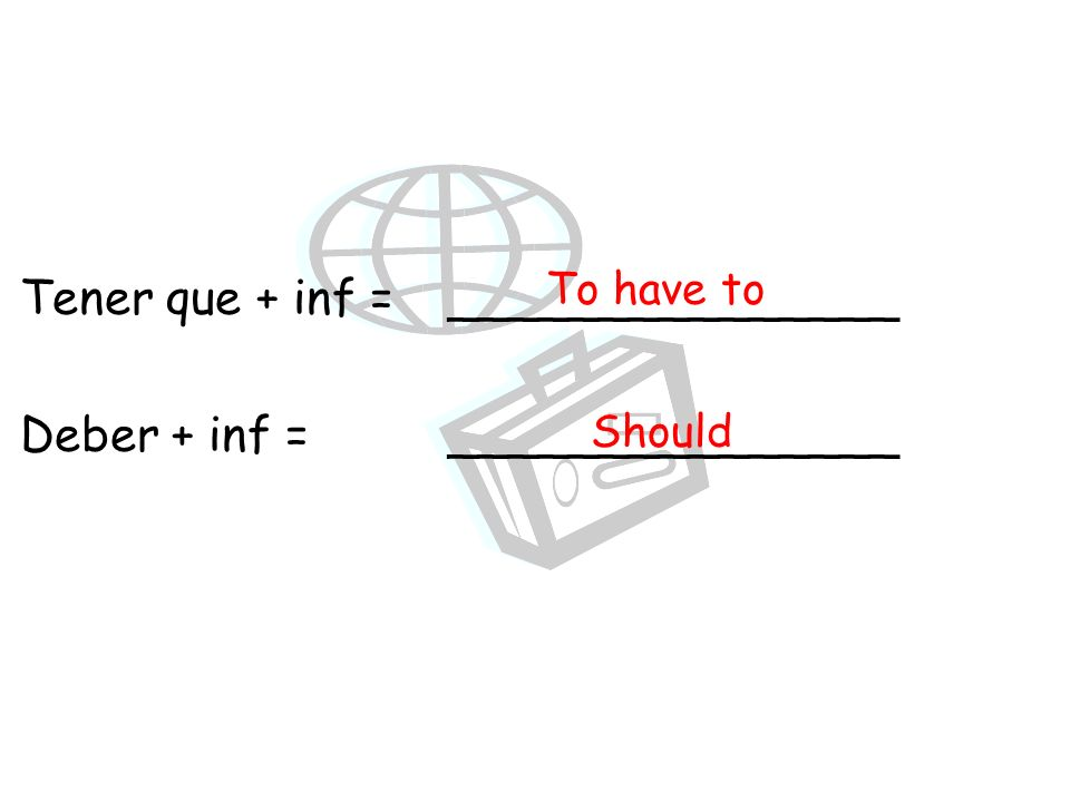 Tener que + inf = _______________ Deber + inf =_______________ To have to Should