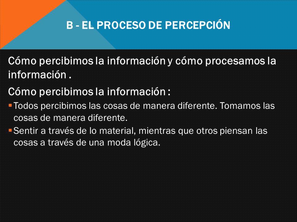 B - EL PROCESO DE PERCEPCIÓN Cómo procesamos la información.