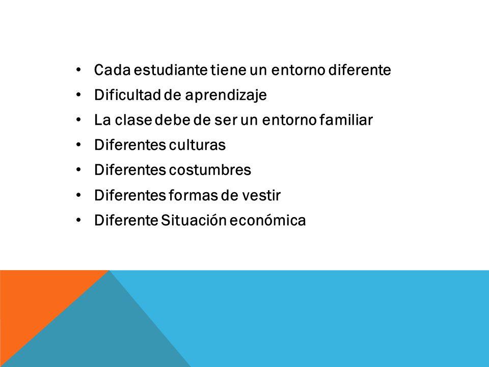 Cada estudiante tiene un entorno diferente Dificultad de aprendizaje La clase debe de ser un entorno familiar Diferentes culturas Diferentes costumbres Diferentes formas de vestir Diferente Situación económica
