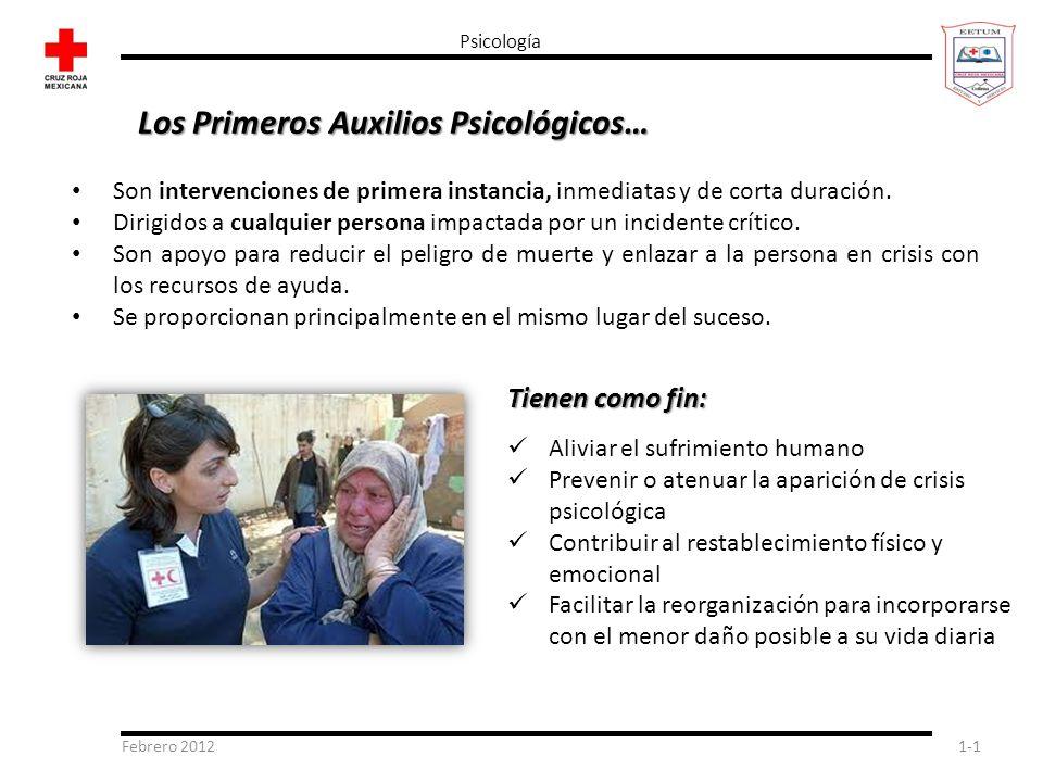 Febrero 20121-1 Psicología Son intervenciones de primera instancia, inmediatas y de corta duración. Dirigidos a cualquier persona impactada por un inc