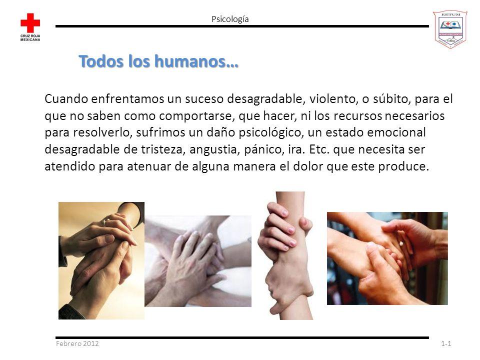 Febrero 20121-1 Psicología Todos los humanos… Cuando enfrentamos un suceso desagradable, violento, o súbito, para el que no saben como comportarse, qu
